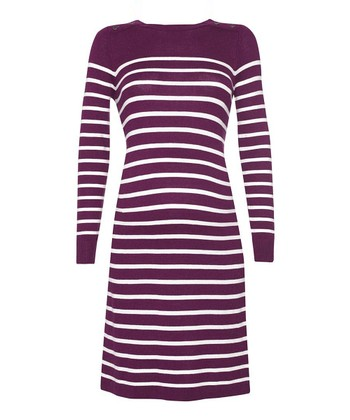 Wine & Ecru Breton Stripe Maternity Dress
