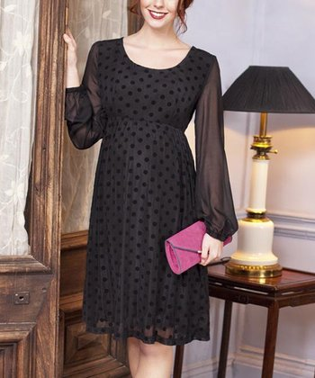 Black Chiffon Spot Maternity Dress