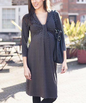 Black Diamond Knot-Front Maternity Dress