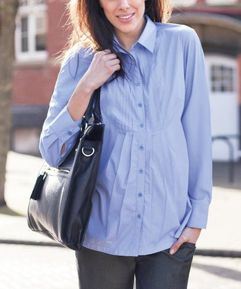 Light Blue Pleated Maternity Button-Up