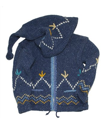 Denim Zigzag Wool-Blend Zip-Up Hoodie - Kids