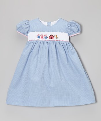 Blue Gingham Three Little Pigs Dress - Infant, Toddler & Girls