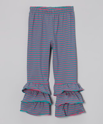 Teal & Pink Stripe Ruffle Pants - Infant, Toddler & Girls