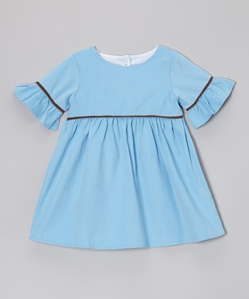 Blue & Brown Corduroy Emma Dress - Infant, Toddler & Girls