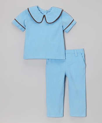 Blue & Brown Peter Pan Corduroy Top & Pants - Infant
