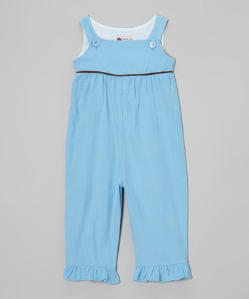 Blue & Brown Corduroy Ruffle Overalls - Infant, Toddler & Girls
