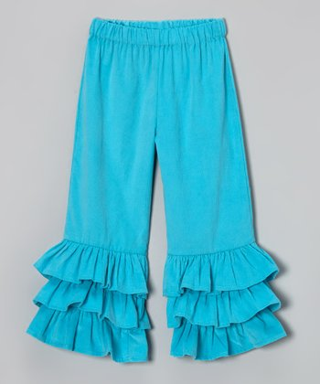 Turquoise Ruffle Corduroy Pants - Infant, Toddler & Girls