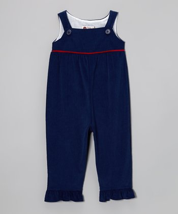 Navy & Red Corduroy Ruffle Overalls - Infant, Toddler & Girls