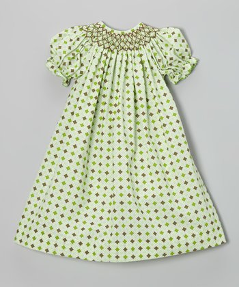 Brown & Green Diamond Bishop Dress - Infant, Toddler & Girls