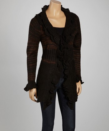 Black & Brown Ruffle-Trim Open Cardigan