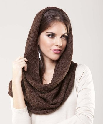 Chocolate Tuckstitch Wool Infinity Scarf