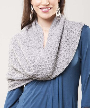 Heather Gray Tuckstich Wool Infinity Scarf