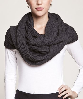 Black Micro-Ribbed Wool Infinity Scarf