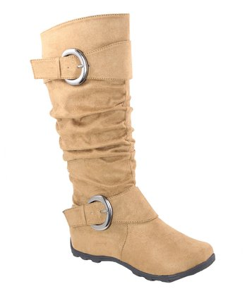Tan Double Buckle Slouch Boot
