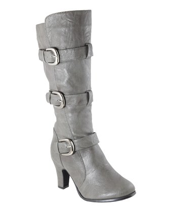 Gray Triple Buckle Boot