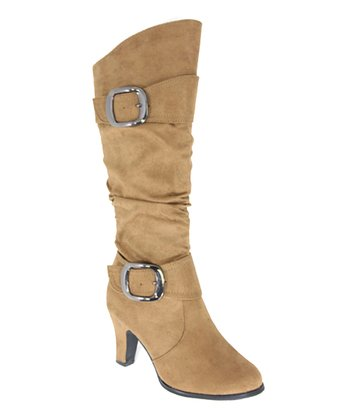 Tan Slouch Buckle Boot