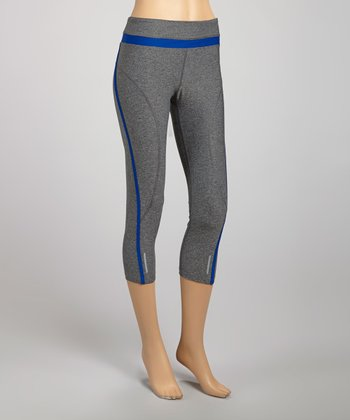 Blue & Heather Charcoal Drawstring Capri Leggings