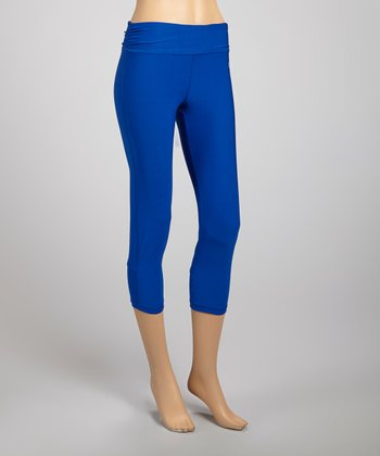 Royal Blue Shirred Capri Leggings