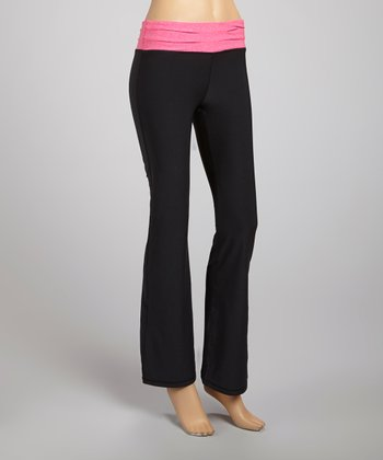 Black & Neon Fuchsia Pleated Workout Pants