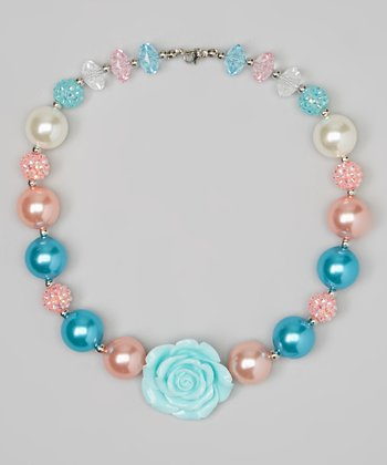 Pink & Aqua Bead Necklace