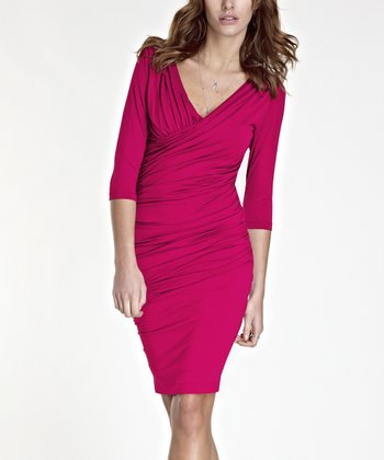 Raspberry Melon Jersey Surplice Dress