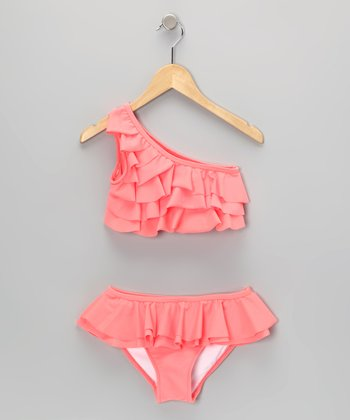 Coral Asymmetrical Tiered Ruffle Skirted Bikini - Girls