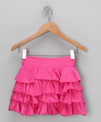 Fuchsia Ruffle Swim Skirt - Girls