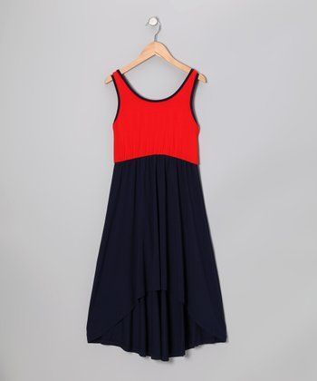 Red & Navy Hi-Low Dress - Girls
