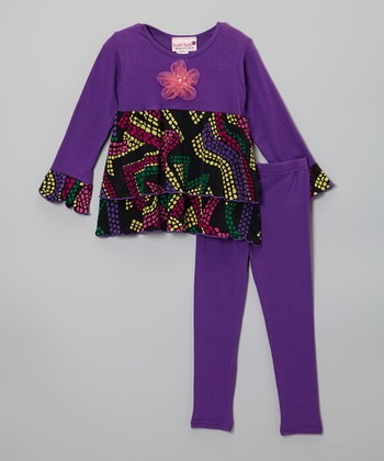 Purple Mosaic Ruffle Tunic & Leggings - Toddler & Girls