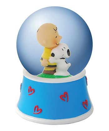 Charlie Brown Hugging Snoopy Water Globe