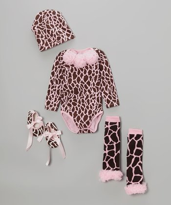 Pink Giraffe Bodysuit Set - Infant