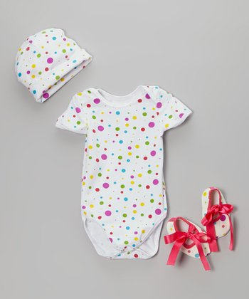 White & Purple Polka Dot Bodysuit Set - Infant