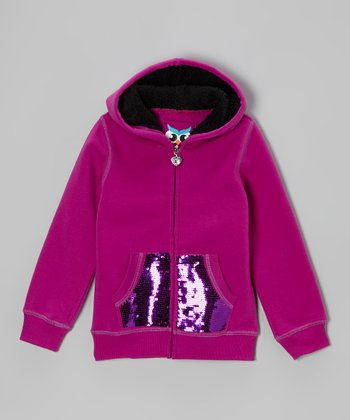 Magenta Sequin Sherpa Zip-Up Hoodie - Girls