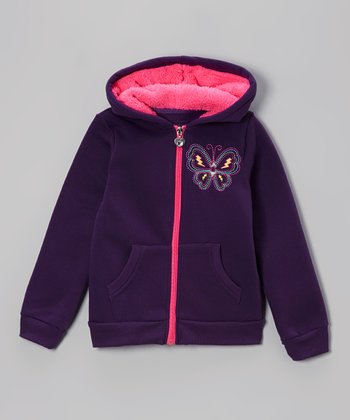 Purple & Pink Butterfly Sherpa Zip-Up Hoodie - Girls