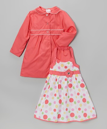Coral Polka Dot Halter Dress & Jacket - Infant, Toddler & Girls