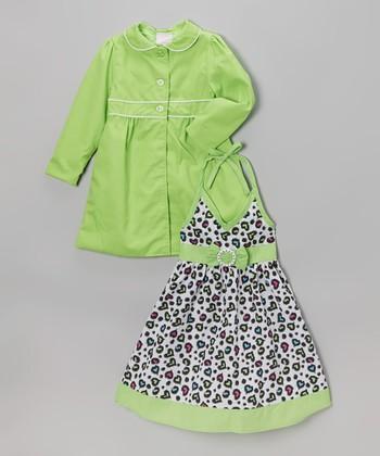 Green Leopard Halter Dress & Jacket - Infant, Toddler & Girls
