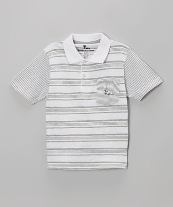 White & Gray Stripe Raglan Polo - Toddler & Boys