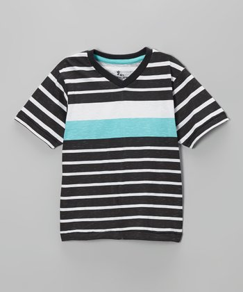Black & Turquoise Stripe V-Neck Tee - Boys