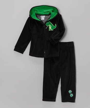 Black Dinosaur Velour Zip-Up Hoodie & Pants - Infant