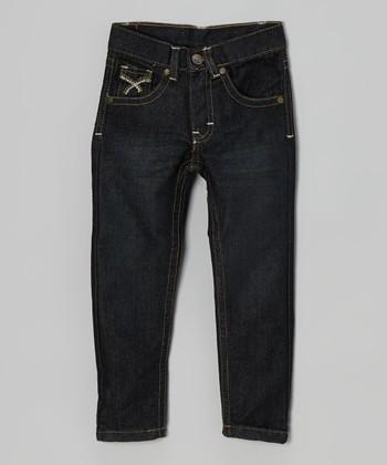 Longstreet Dark Wash & Brown Embroidered Jeans - Infant, Toddler & Boys
