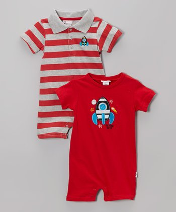 Red Rocket Romper Set - Infant