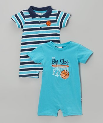 Turquoise 'Big Shot' Romper Set - Infant