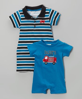 Blue 'Daddy's Little Hero' Romper Set - Infant