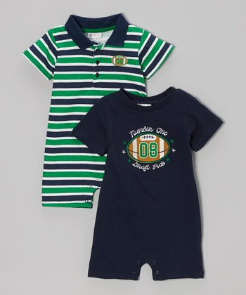 Navy 'Number One Draft Pick' Romper Set - Infant