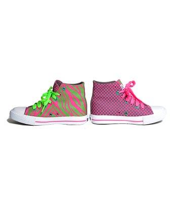 XOLO Shoes Pink & Green Zebra Hi-Top Sneaker