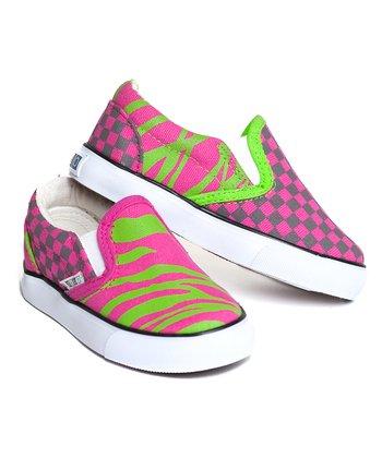 XOLO Shoes Pink & Green Zebra Slip-On Sneaker