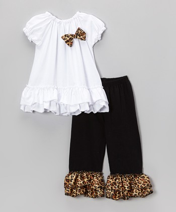 White Ruffle Puff-Sleeve Top & Cheetah Pants - Toddler & Girls