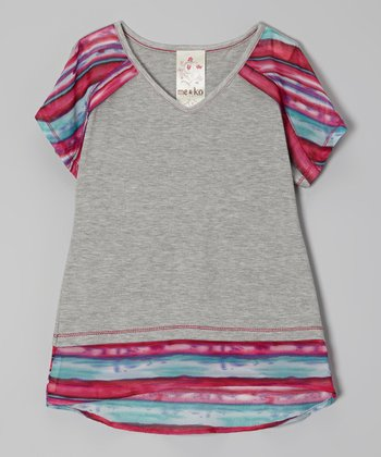 Heather Gray & Pink Stripe Hi-Low Top - Girls