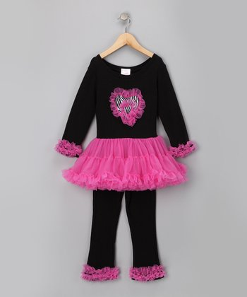 Black & Pink Ruffle Dress & Pants - Infant & Toddler