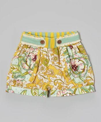Turquoise & Yellow Floral Izzy Shorts - Infant, Toddler & Girls
